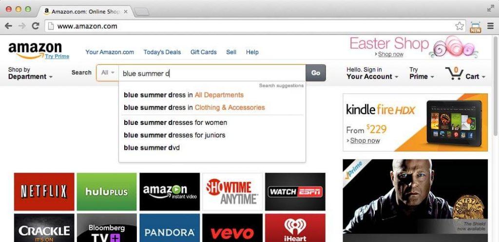 amazon suggestive search ecommerce