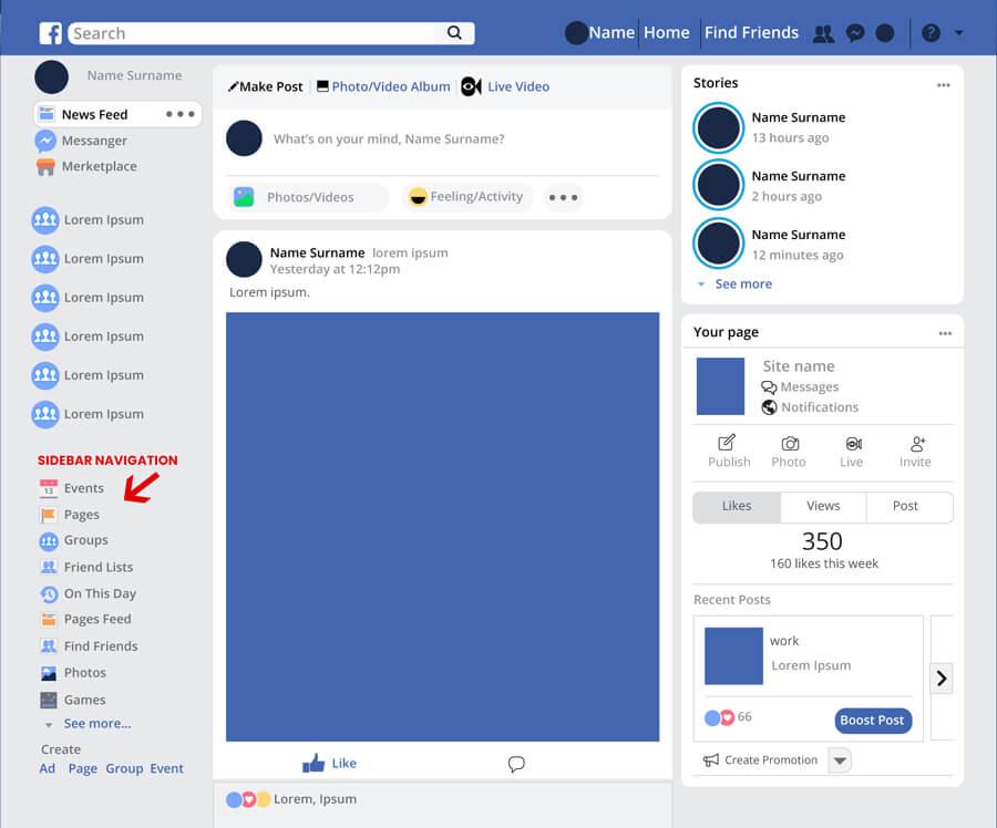 facebook sidebar navigation